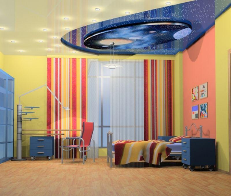 натяжные потолки в детскую комнату фото