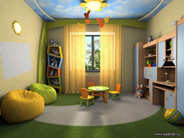 натяжной потолок в детской с точечными светильниками