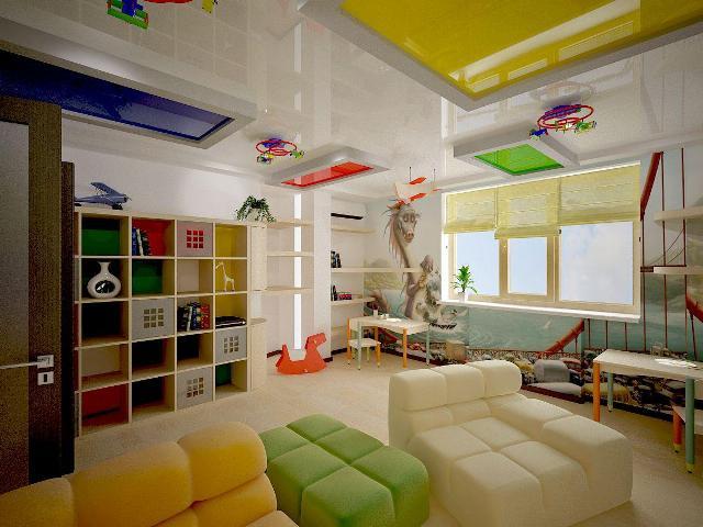 потолок из гипсокартона в детскую комнату фото
