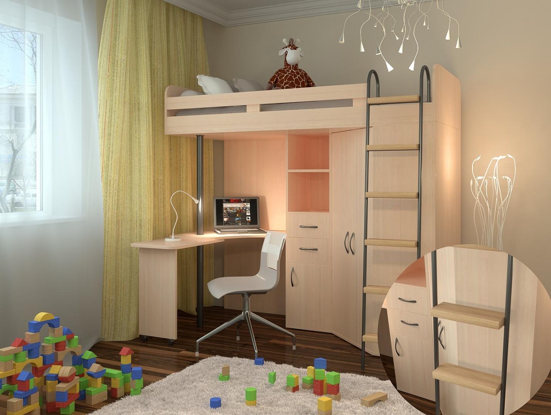 Дизайн детской комнаты с кроватью-чердаком
