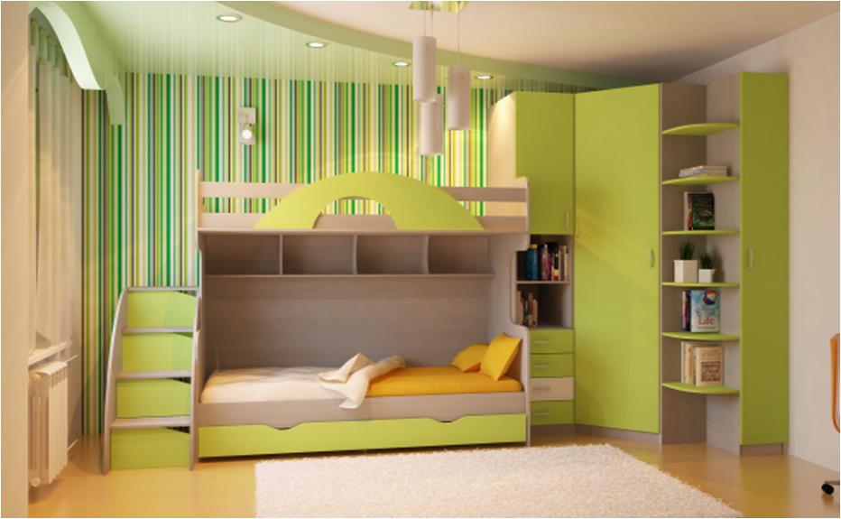 детская комната с двухъярусной кроватью фото как выбрать на что