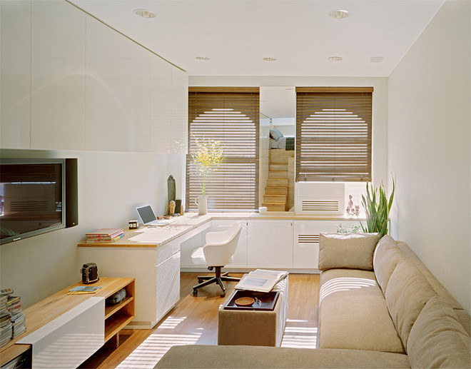 Светлые тона в интерьере квартиры студии